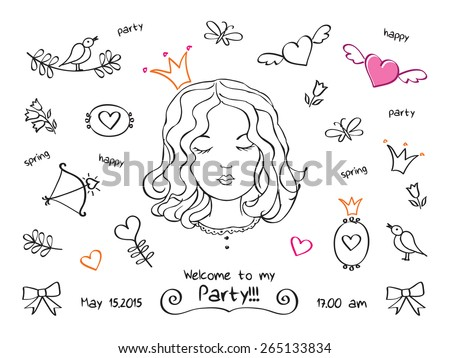 Invitation to a spring party, birthday, holiday. Party for the princesses. The set of hand drawn elements for your design. Doodles, sketch. Vector illustration. - stock vector