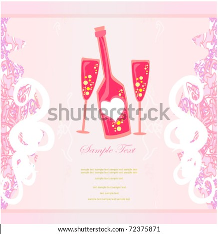 invitation to cocktail party menu or bar card space for text - stock vector