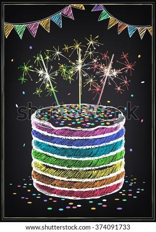 Invitation birthday party cake sparklers confetti stock vector invitation to the birthday party with a cake sparklers and confetti freehand drawing with stopboris Image collections