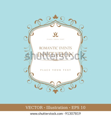 Invitation vintage card. Wedding or Valentine`s Day. Vector illustration - stock vector
