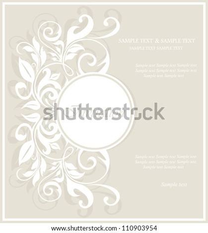 Invitation vintage card with floral elements. - stock vector