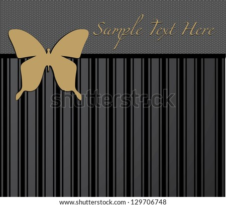 Invitation, wedding card, greeting card in black and gold color