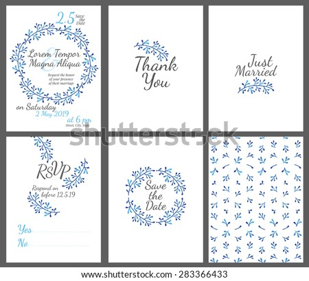 Invitation wedding card set with watercolor flowers vector template - for invitations, flyers, postcards, cards and so on