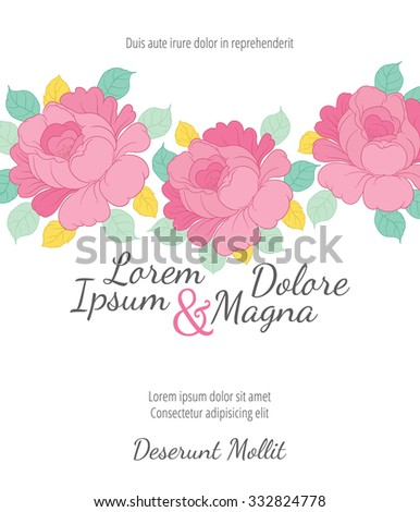 Invitation wedding card with rose flowers vector template - for invitations, flyers, postcards, cards and so on