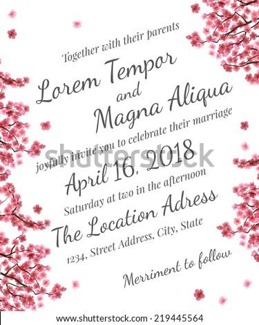 Vector floral wedding invitation invite save stock vector invitation wedding card with sakura blossom vector template you can use it for invitations stopboris Gallery