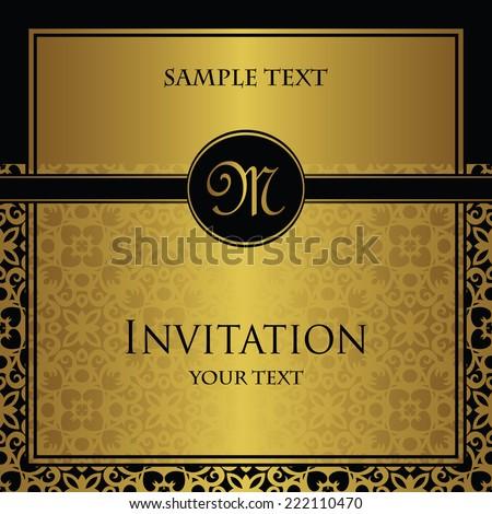 Invitation with a gold decoration. Original design      - stock vector