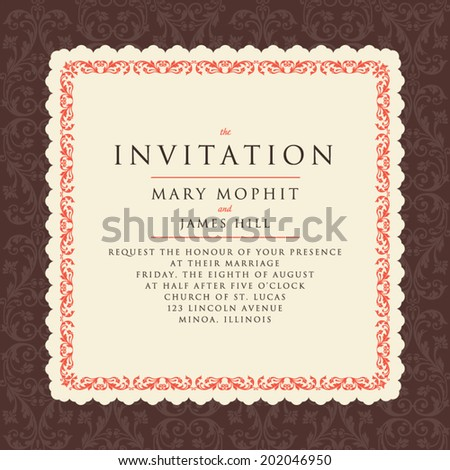 Invitation with a rich background in Renaissance style. Template framework Wedding invitations or announcements with vintage background artwork. Ornate damask background - stock vector