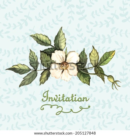 Invitation with floral motifs. Illustration for greeting cards, invitations, and other printing projects.  - stock vector