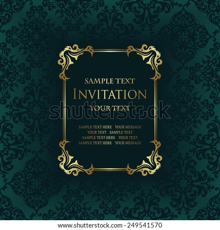 Invitation with frame. Vintage background          - stock vector