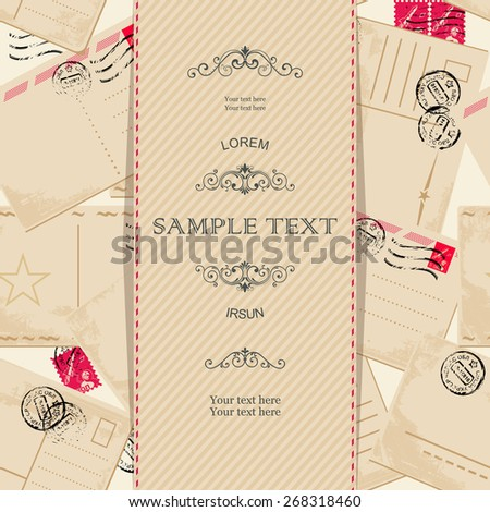 invitation with vintage postcards - stock vector