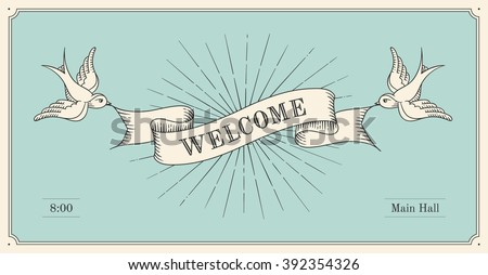 Invitation word welcome old vintage ribbon stock vector 392354326 invitation with word welcome old vintage ribbon banners and drawing in engraving style hand stopboris Gallery