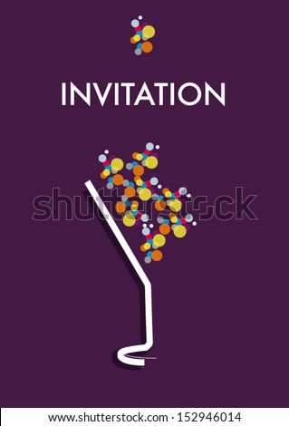 invitations cocktail and champagne bubbles - stock vector