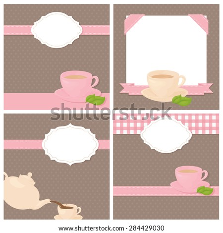 Invitations to a tea party with copy space. - stock vector