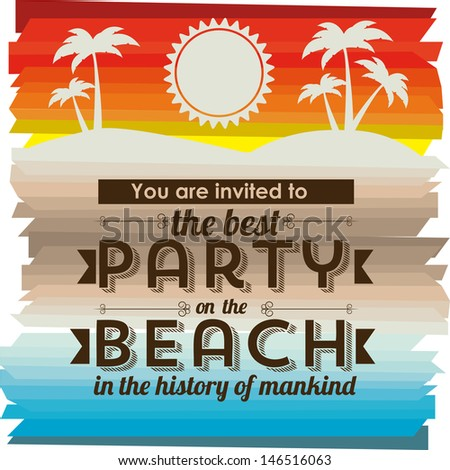 invited vacation on the beach over landscape background vector illustration