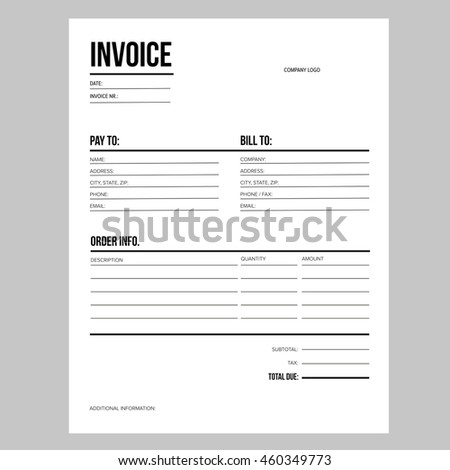 Invoice Business Template Letter Usa Standard Stock Vector