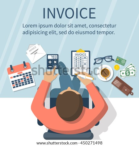 Toyota Invoice Price Holdback Invoice Man Table Calculations On Payment Stock Vector   Web Receipts Folder Word with Best Price On Neat Receipt Scanner Excel Man At Table Calculations On Payment Bills Receipts Invoices Google Docs Invoice