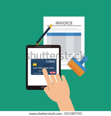 Invoice design. Money icon. Colorful illustration, vector