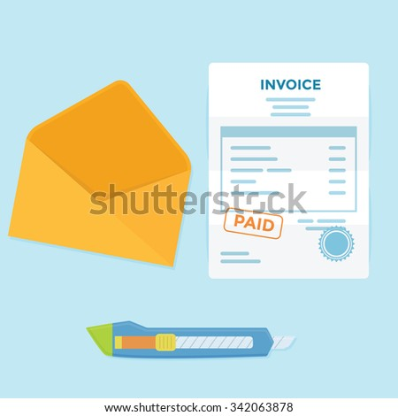 Invoice paper bill comes from envelope need to pay - stock vector