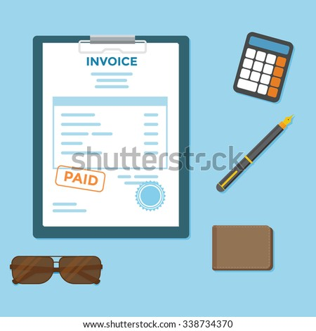 Invoice paper bill with wallet and calculator - stock vector