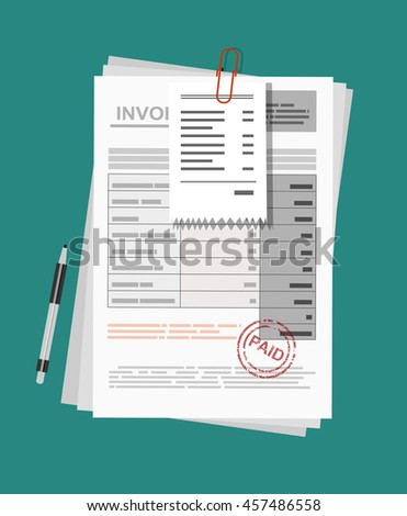 Invoice sheet, bill and pen. Flat style illustration, invoice payment concept