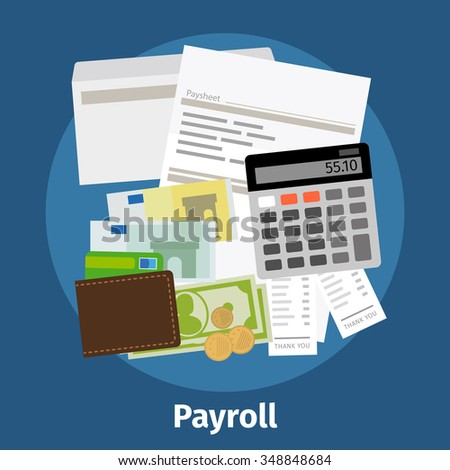 Invoice sheet, paysheet or payroll icon. Calculating and budget account. Vector illustration. - stock vector