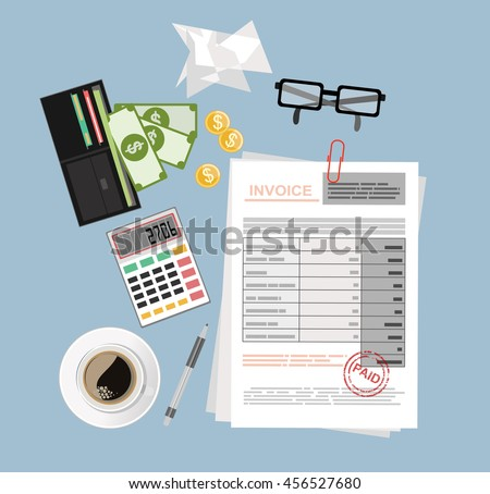 Invoice sheet, pen, calculator, ruler, coins, banknotes and credit card, flat style illustration, invoice payment concept