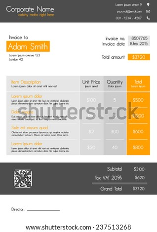 Invoice template - clean modern style of orange and grey - stock vector
