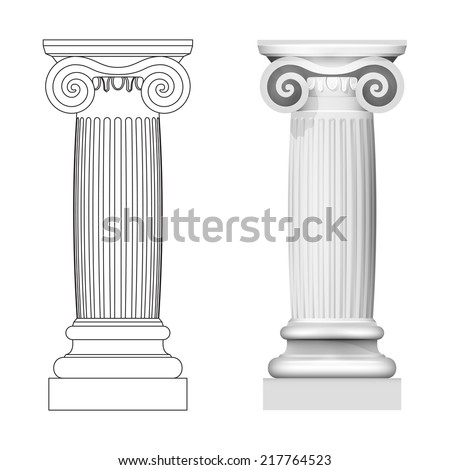 ionic column style side view isolated vector illustration