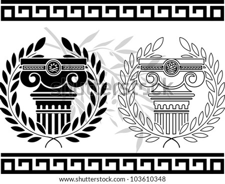 ionic columns with wreaths. stencil. vector illustration - stock vector