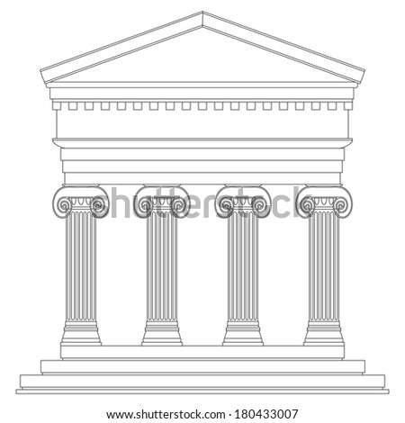 Ionic temple on white background.