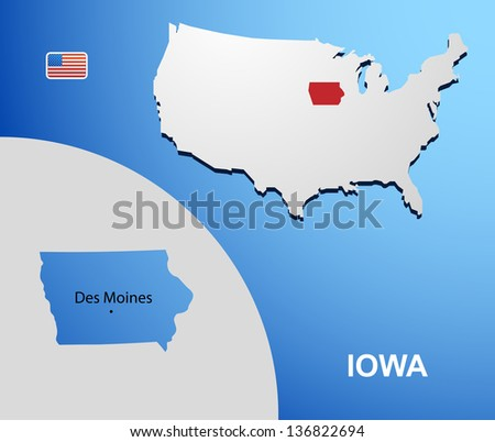 Iowa on USA map with map of the state