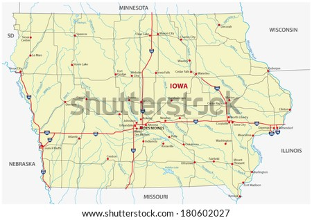 Iowa Map Stock Images RoyaltyFree Images Vectors Shutterstock - Road map of iowa
