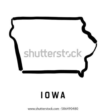 Iowa State Map Outline Smooth Simplified Us State Shape Map Vector