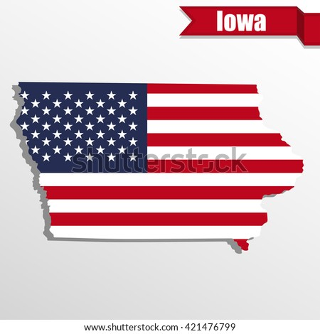 Iowa State Map Us Flag Inside Stock Vector Shutterstock - Iowa state in usa map