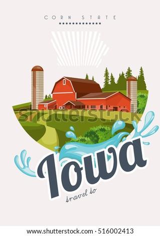 Iowa vector card united states america stock vector 2018 516002413 iowa vector card united states of america greeting travel poster m4hsunfo