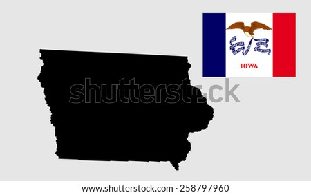 Iowa vector map and flag isolated on white background. High detailed silhouette illustration. Iowa, (USA  ) state flag vector, original and simple Iowa flag isolated in official colors and Proportion. - stock vector
