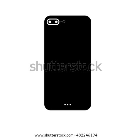 iPhone 7 Plus Dark Icon Vector Illustration Mock-uo, New Serie Plus Dark Icon, Phone Back Case Mock-up