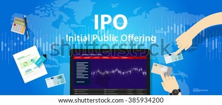 IPO initial public offering stocks market company - stock vector