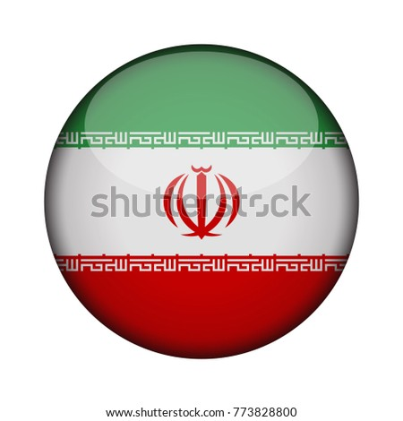 iran Flag in glossy round button of icon. iran emblem isolated on white background. National concept sign. Independence Day. Vector illustration.