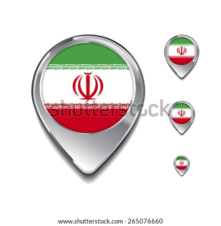 Iran flag map pointer. 3d Map Pointer with flag glossy button style on gray background - stock vector