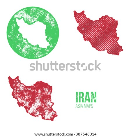 Iran Grunge Retro Maps - Asia - Three silhouettes Iran maps with different unique letterpress vector textures - Infographic and geography resource - stock vector