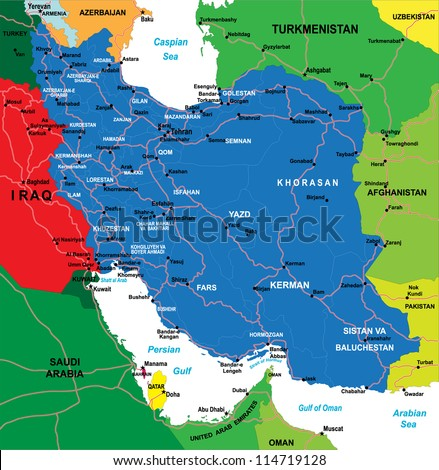 Iran map - stock vector
