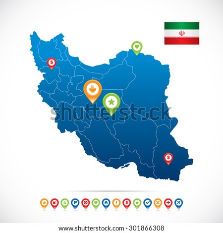 Iran Map with Navigation Icons - stock vector