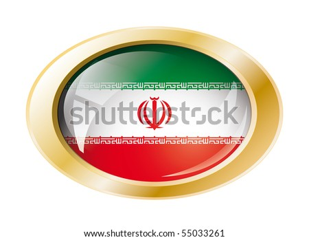 Iran shiny button flag with golden ring vector illustration. Isolated abstract object against white background.