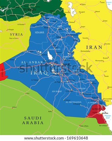 Iraq map - stock vector