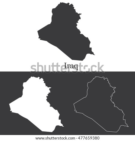 Iraq map outline highly detailed