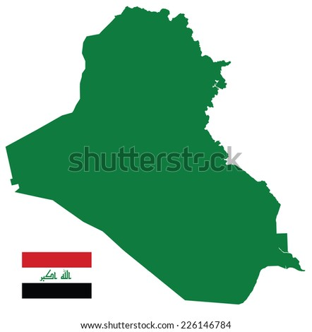 Iraq Map silhouette with Flag - stock vector