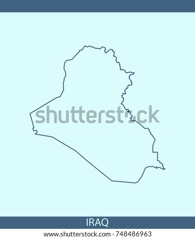 Iraq Map Vector Outline Illustration Blue Stock Vector - Iraq map outline