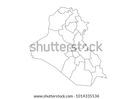 Iraq Map Country Borders Thin Black Stock Vector 1014335536