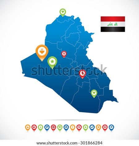 Iraq Map with Navigation Icons - stock vector